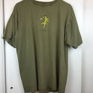 Vintage 90s Life Is Good T-Shirt Olive Green Sz L